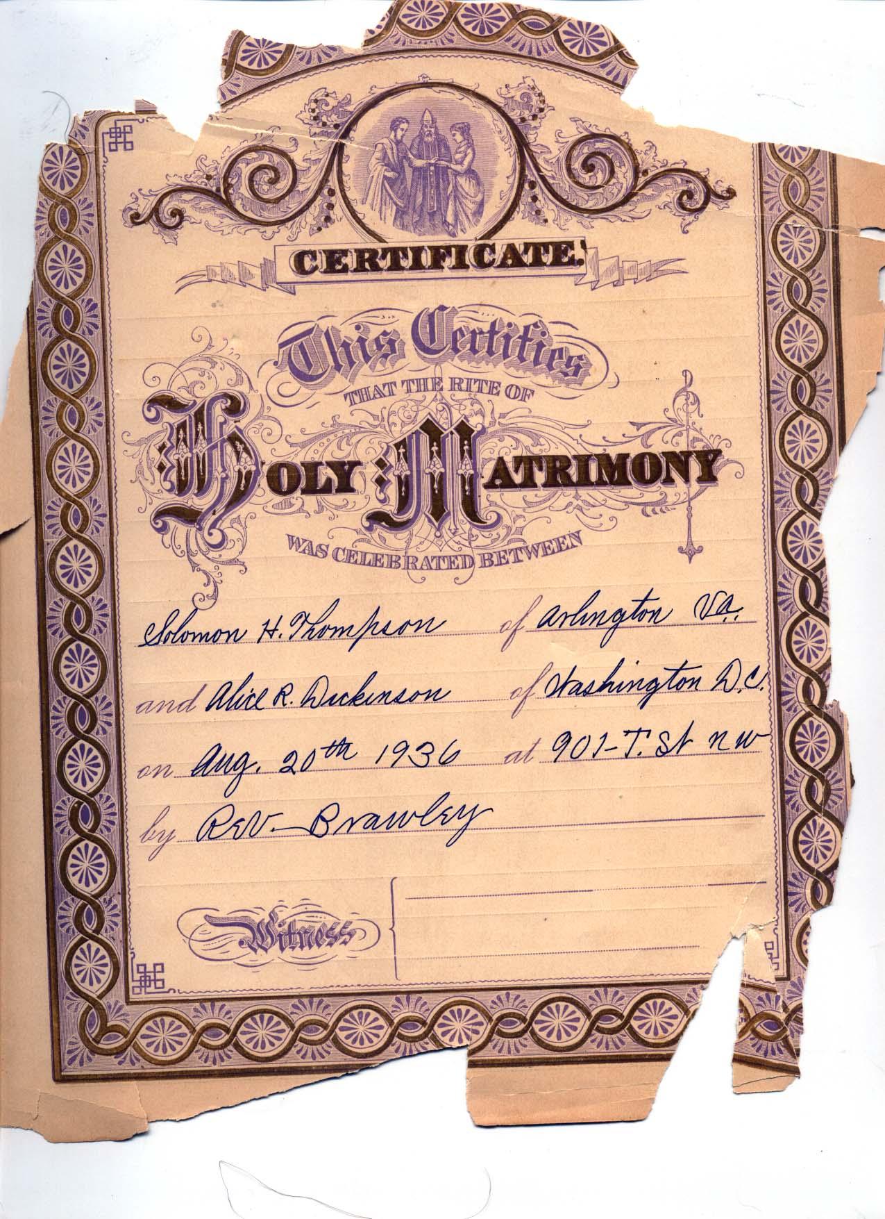 Marriage certificate arlington va